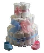 3 Tier Diaper Cake Pink Blue Baby Shower Centerpiece Boy Girl Twin Gender Reveal - $19.31