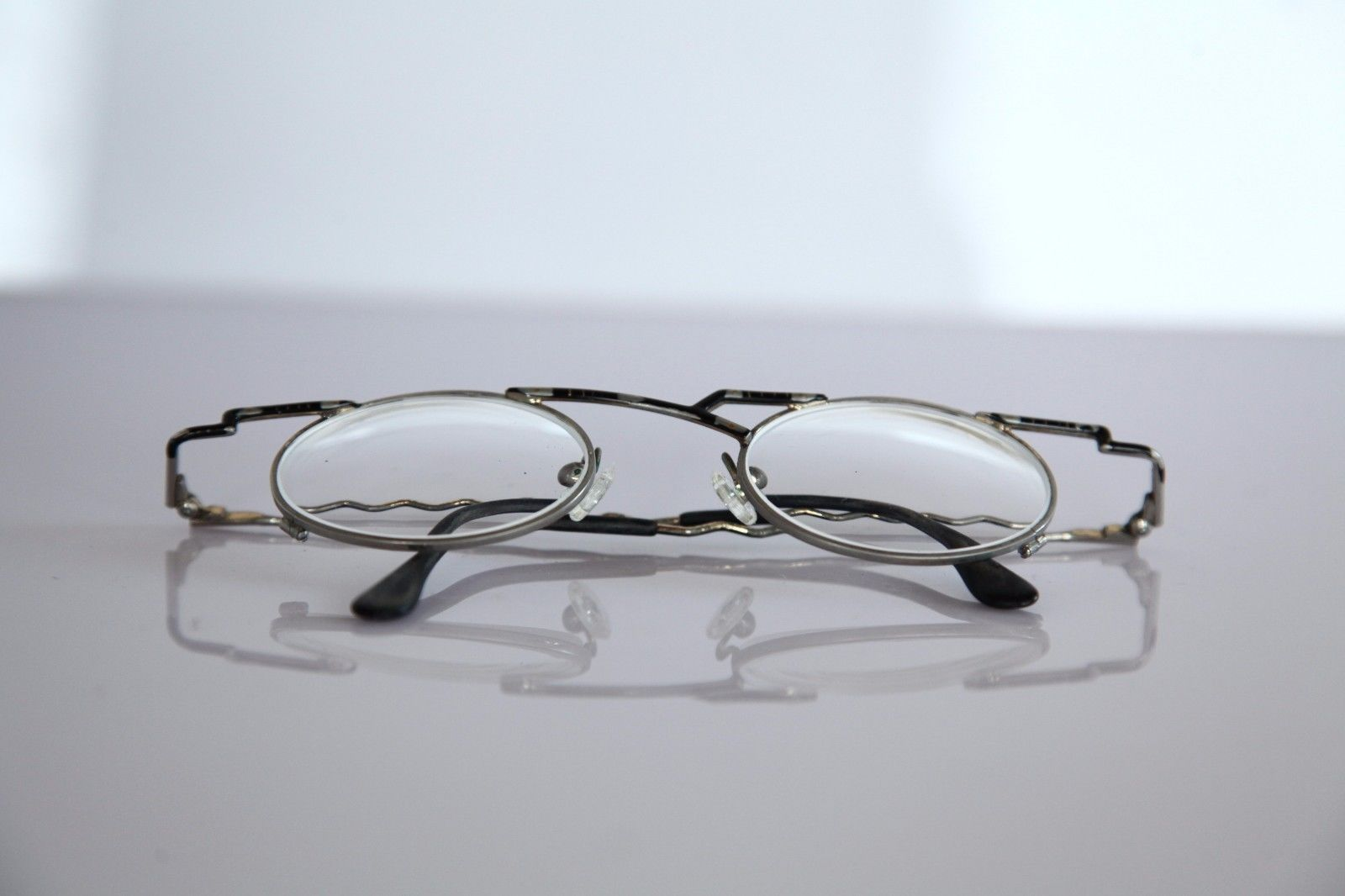 Eyewear, Silver, Black Frame, RX-Able Prescription Lenses.