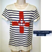 "RALPH LAUREN WHITE/NAVY ""STRIPED"" cotton knit top Med NAUTICAL tee shirt - $14.95"