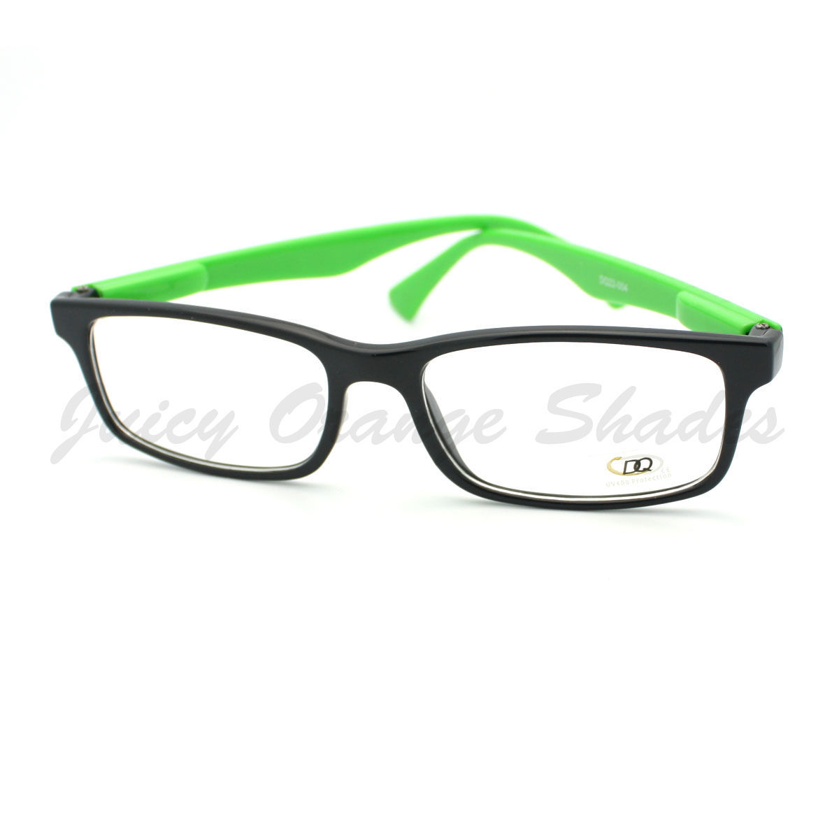Clear Lens Eyeglasses Thin Rectangular Black Frame Color Zebra Print