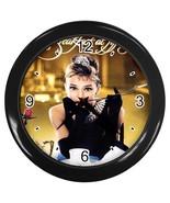 New Custom Black Wall Clock AUDREY HEPBURN - $16.46