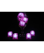 Set of 8 Litecubes Jewel Color Tinted Rose Pink Light up LED Ice Cubes - $18.95