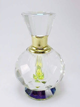 Crystal Perfume Bottle Round Diamond Cut Pattern With Free Market III Ca... - $34.95