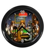 New Custom Black Wall Clock Dogs Playing Poker - $16.46