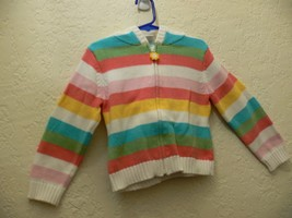 GYMBOREE Girls HAPPY RAINBOW Hooded Striped Zipper Sweater SIZE XS 3/4 ek - $6.50