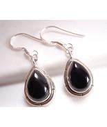 Black Onyx Earrings 925 Sterling Silver w/ Groove Accents Dangle Drop Blue New - $23.75