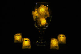 Set of 8 Litecubes Jewel Color Tinted Topaz Yellow Light up LED Ice Cubes - $22.07 CAD