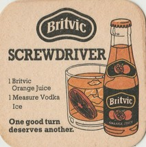 VINTAGE BRITVIC ORANGE JUICE SCREWDRIVER BEER COASTER FROM ENGLAND - $1.99