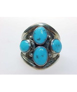 TURQUOISE Vintage Ring in STERLING Silver - Size 8 - $75.00