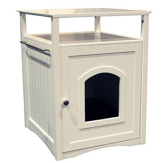 Wooden Cat Litter Box Privacy House Door Bathroom