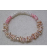 Shell Beaded Stretch Bracelet with Pink Accents - $3.00