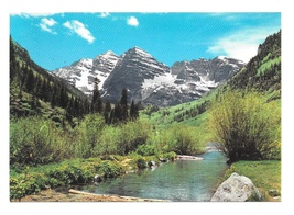 Rocky Mountains Colorado Springtime Maroon Bells Creek Vntg Motisher Pos... - $4.99