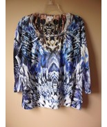 CHICOS 2 White Blue Multi Color 100% Polyester Rhinestone Blouse Shirt Top - $23.47