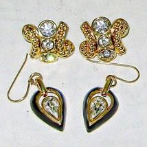 Two Pair Rhinestone & Crystal Fashion Earrings Goldtone Pierced Style  - $4.95