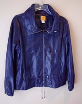 Ruby Rd.  Navy Blue Reptile Print Zipper Down Jacket Petites Size 8 - $38.17