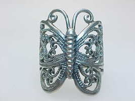 BUTTERFLY Filigree Vintage Ring in STERLING Silver - Size 6 1/2 - $48.00