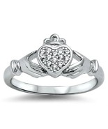 Sterling Silver Claddagh ring size 10 CZ Round cut Heart Crown Engagemen... - $12.58
