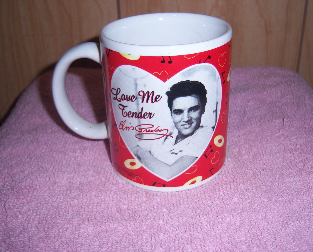 Elvis Presley Cup 1998 Love Me Tender Signature Collectible Record Music Hearts