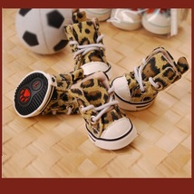 Brown Leopard Print Doggie Laceup Rubber Sole Sneakers PUPPY to BIG DOG Sizes image 3