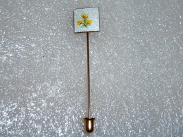 Vintage Guilloche Stick Pin With Yellow Flowers - $10.00