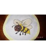 Baby Bib New Bee Handmade Yellow Finished Cross Stitch Feeding Unisex Gi... - $18.83