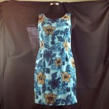 Hilo Hattie Barkcloth Sheath Blue Hawaiian Summer Dress Scoop Neck Hibis... - $38.61