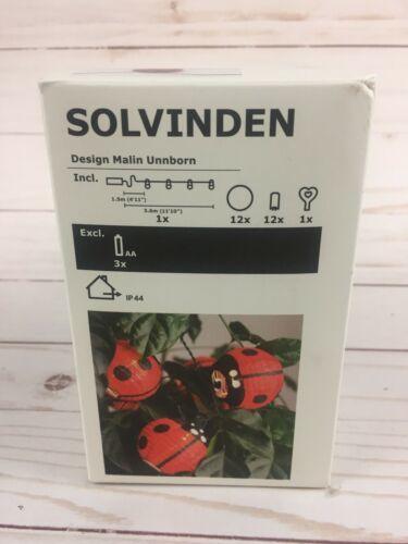 IKEA SOLVINDEN Ladybug LED String Lights Battery Operated Outdoor New