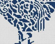 Tribal Rooster monochrome cross stitch chart White Willow stitching