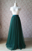 Dark Green Wedding Tulle Skirt with Bow Dark Green Bridesmaid Long Tulle Skirts image 5