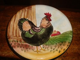 Sakura On The Farm  Hand Painted Rooster Plate - $9.49