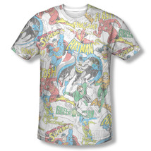 New DC Comic Original Members Distress Sublimation ALL OVER Vintage T-shirt top - $22.99+