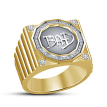 14k Gold Plated 925 Sterling Silver White Diamond Charming Mens Wedding BAD Ring - $85.99