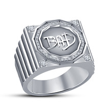 925 Sterling Silver 14k White Gold Plated Diamond Mens BAD Engagement Ring - $83.41