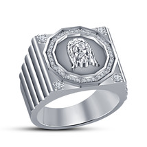 925 Sterling Silver 14k Platinum Plated White CZ Christian religious Jesus Ring - $85.13