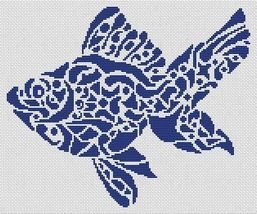 Tribal Fish monochrome cross stitch chart White Willow stitching - $7.65