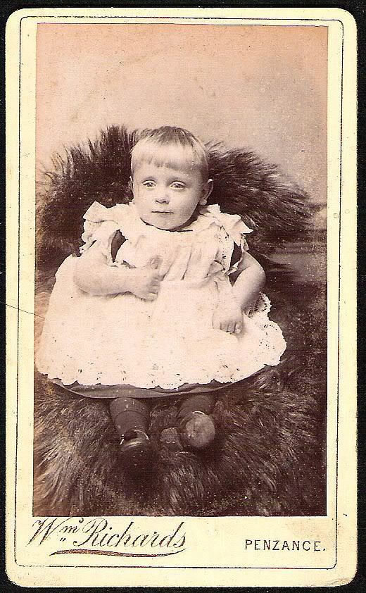 Primary image for BABY W/LACE DRESS Antique Black and white real photo Card De Visite Photograph