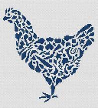 Tribal Hen monochrome cross stitch chart White Willow stitching - $4.50