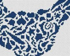 Tribal Hen monochrome cross stitch chart White Willow stitching