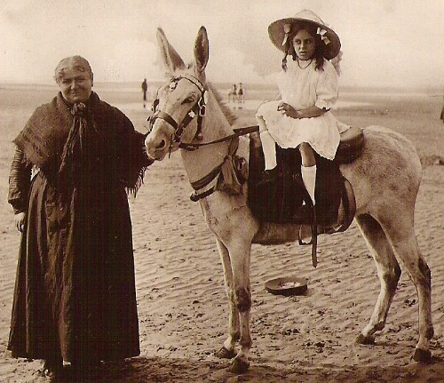 Primary image for SEASIDE DONKEY RIDE Rppc vintage Very unusual used embossed frame Post Card