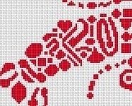 Tribal Lobster monochrome cross stitch chart White Willow stitching