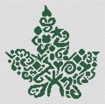 Tribal Maple Leaf monochrome cross stitch chart White Willow stitching - $6.30