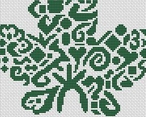 Tribal Maple Leaf monochrome cross stitch chart White Willow stitching