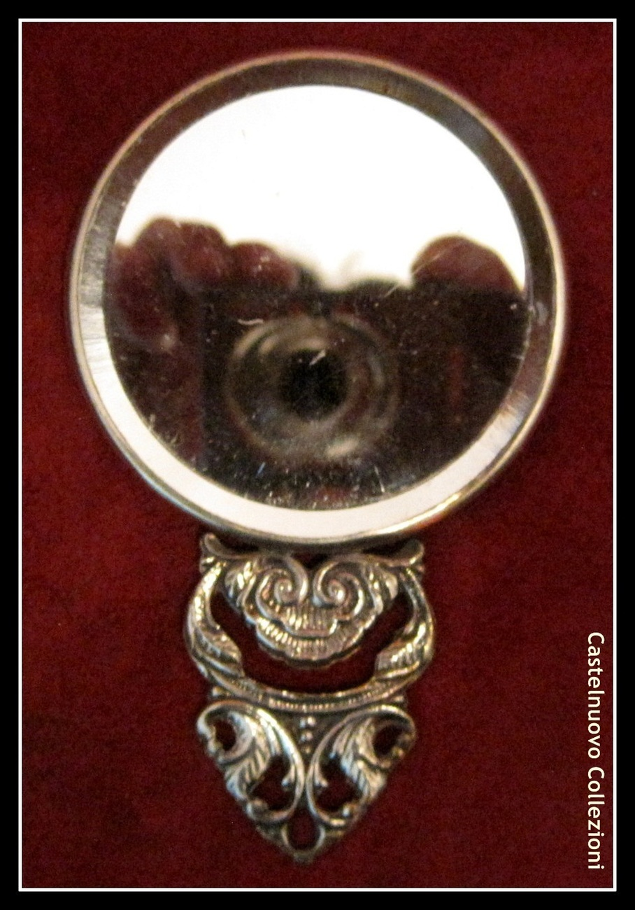 Antique Miniature Silver Plated Ladies Hand Bag Mirror Detailed Marked Denmark