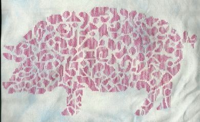 Tribal Pig monochrome cross stitch chart White Willow stitching