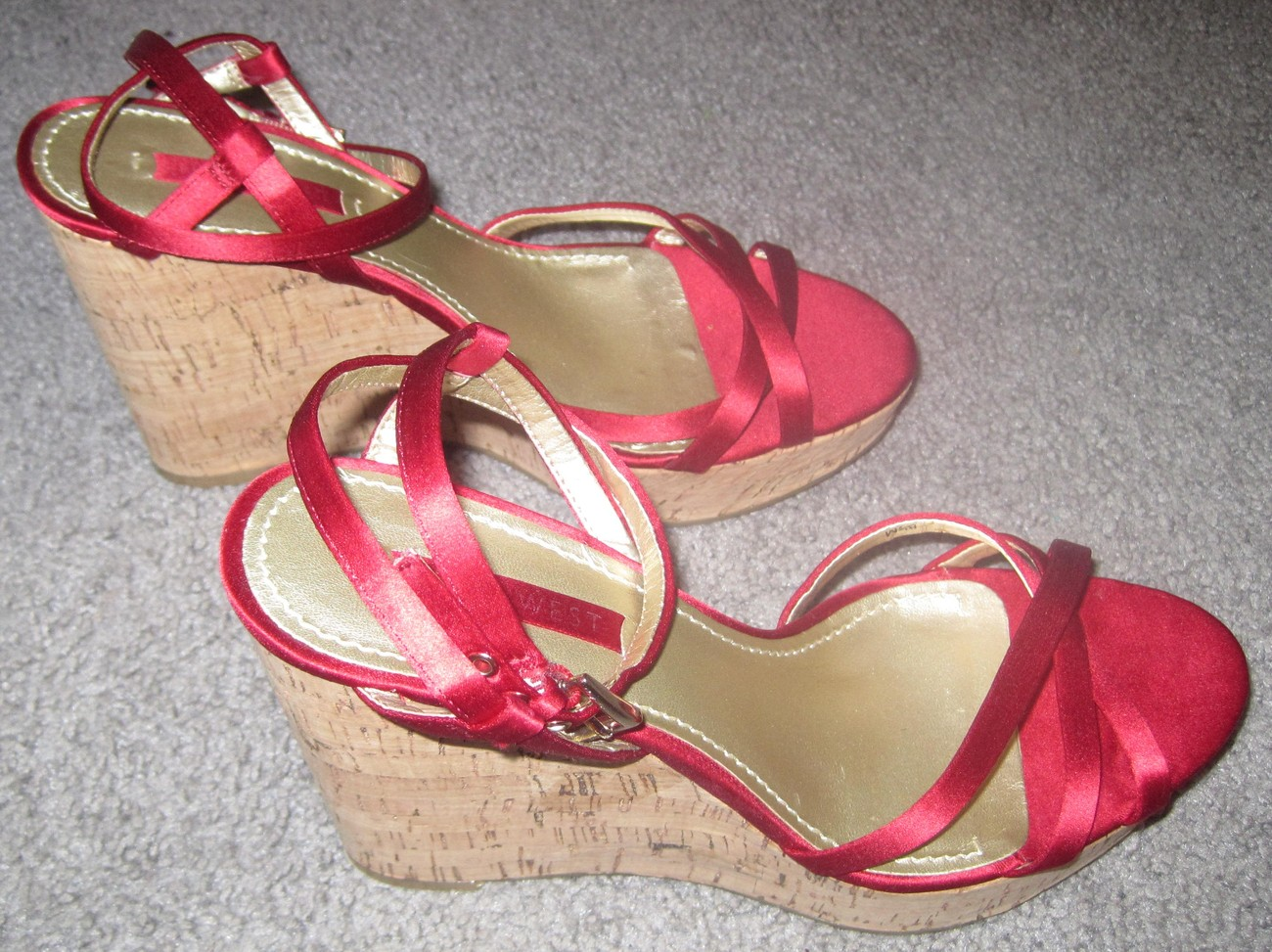 Nine West Red Strappy Wedges Women's Size 8.5 Cork Heel 4.5""