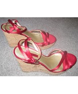 "Nine West Red Strappy Wedges Women's Size 8.5 Cork Heel 4.5"" - $18.00"