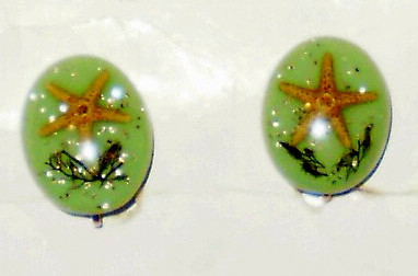 Starfish Clip on Earrings & Brooch Lucite Set vintage