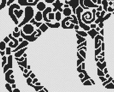 Tribal Whitetail Doe monochrome cross stitch chart White Willow stitching