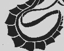 Tribal Dragon monochrome cross stitch chart White Willow stitching
