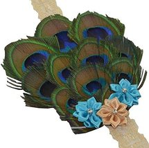 Beautiful Baby Girl Headband Cute Feather Flower Apparel Accessory Blue (1~4Y)